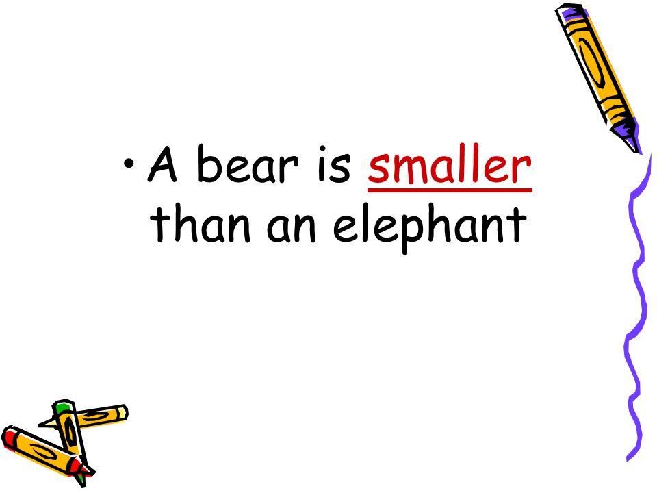 A bear is ………………………than an elephant