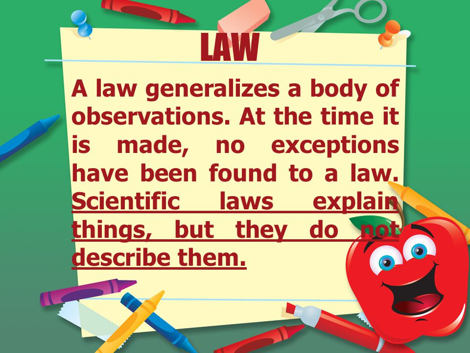 LAW A law generalizes a body of observations.