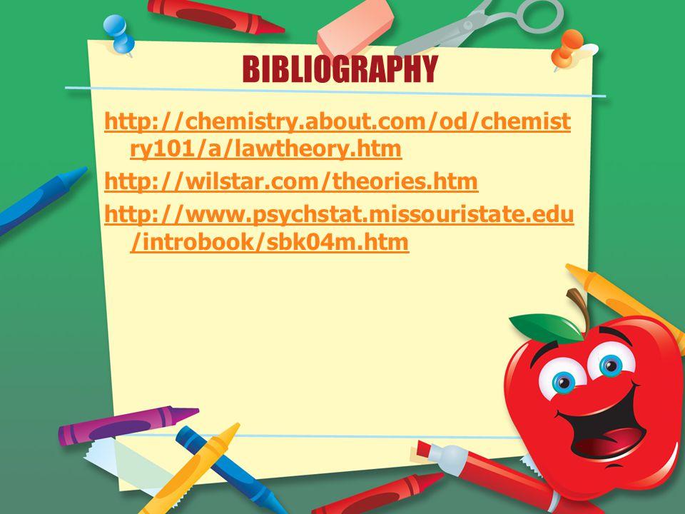 BIBLIOGRAPHY http://chemistry.about.com/od/chemist ry101/a/lawtheory.htm http://wilstar.com/theories.htm http://www.psychstat.missouristate.edu /introbook/sbk04m.htm