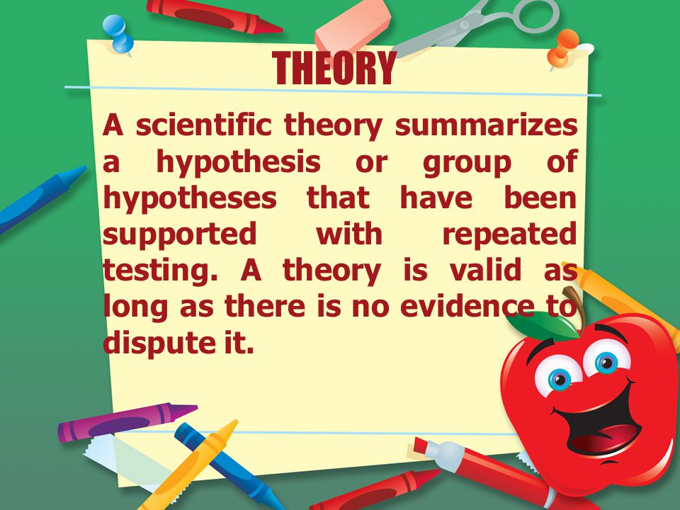 THEORY A scientific theory summarizes a hypothesis or group of hypotheses that have been supported with repeated testing.