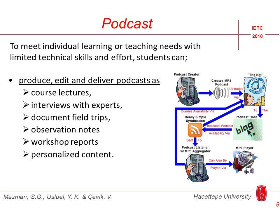 Podcast IETC 2010 Hacettepe University Mazman, S.G., Usluel, Y. K. & Çevik, V. produce, edit and deliver podcasts as  course lectures,  interviews w