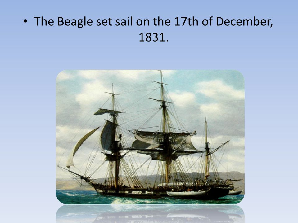 The Beagle set sail on the 17th of December, 1831.