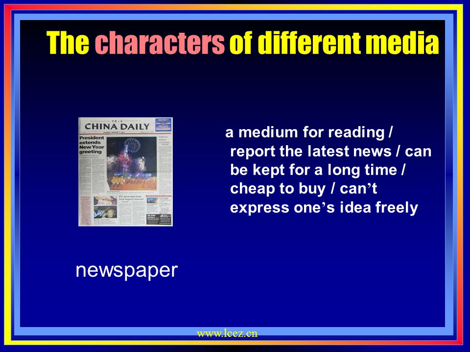 www.lcez.cn magazine The characters of different media provide people with detailed information on a certain subject / focused on a topic /published w