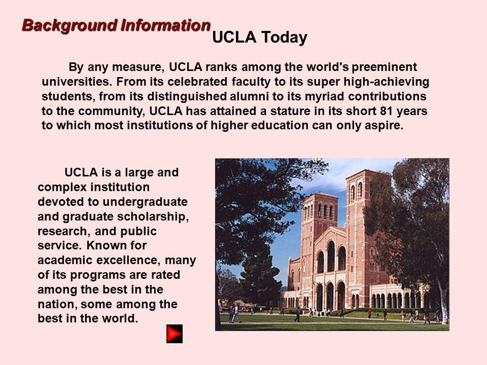 UCLA Today UCLA Today UCLA Today UCLA in 1955 UCLA in 1940 UCLA in 1930 Background Information