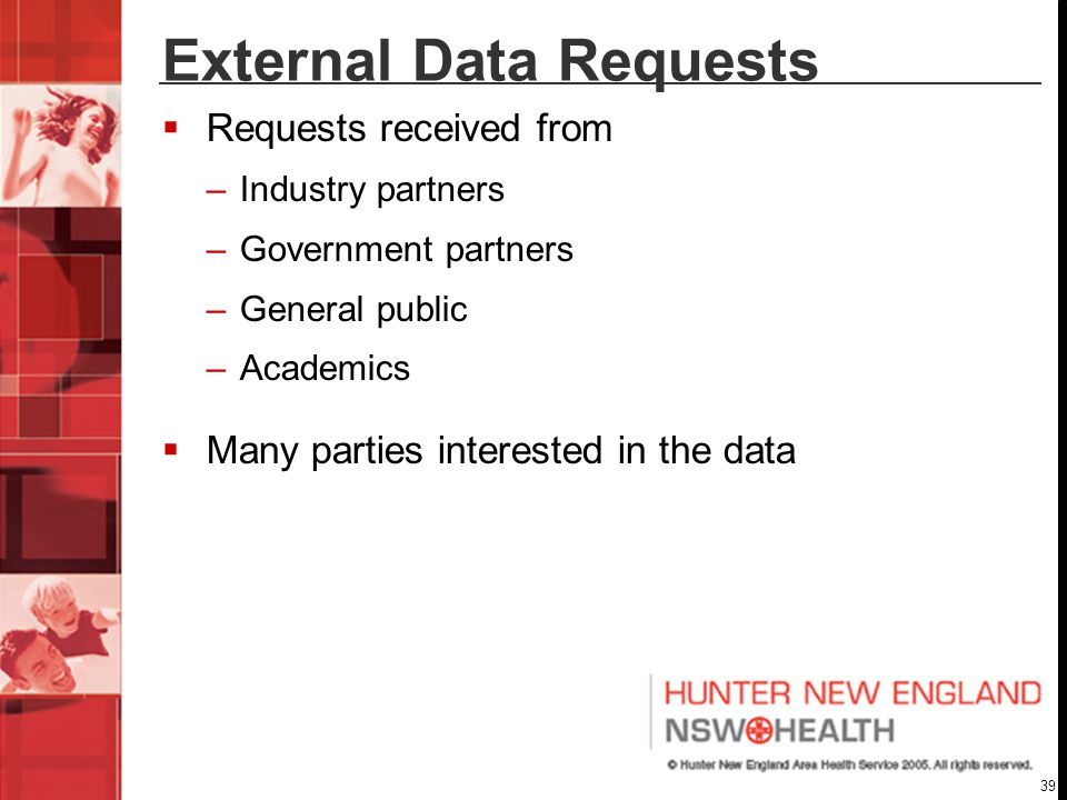 39 External Data Requests  Requests received from –Industry partners –Government partners –General public –Academics  Many parties interested in the data