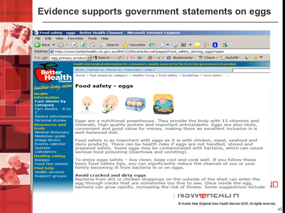45 Evidence supports government statements on eggs