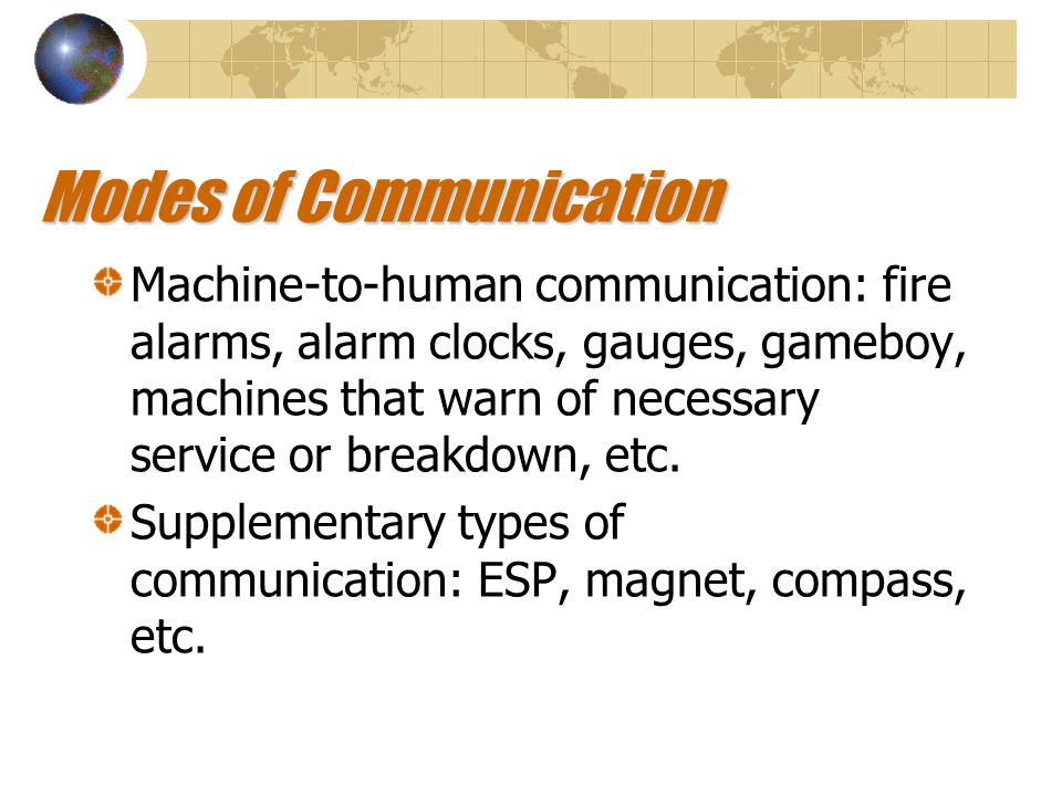 Human-to-human communication: speaking, gesturing, writing, etc.
