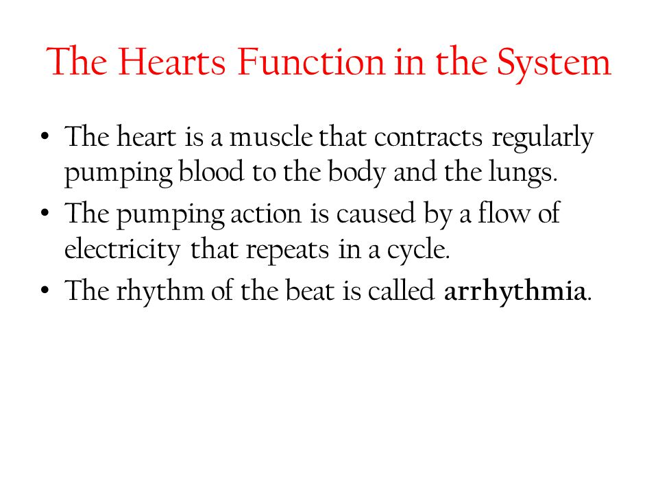 The Hearts Function in the System The heart is a muscle that contracts regularly pumping blood to the body and the lungs. The pumping action is caused