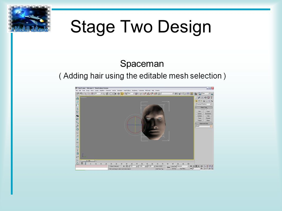 Stage Two Design Spaceman ( Adding hair using the editable mesh selection )