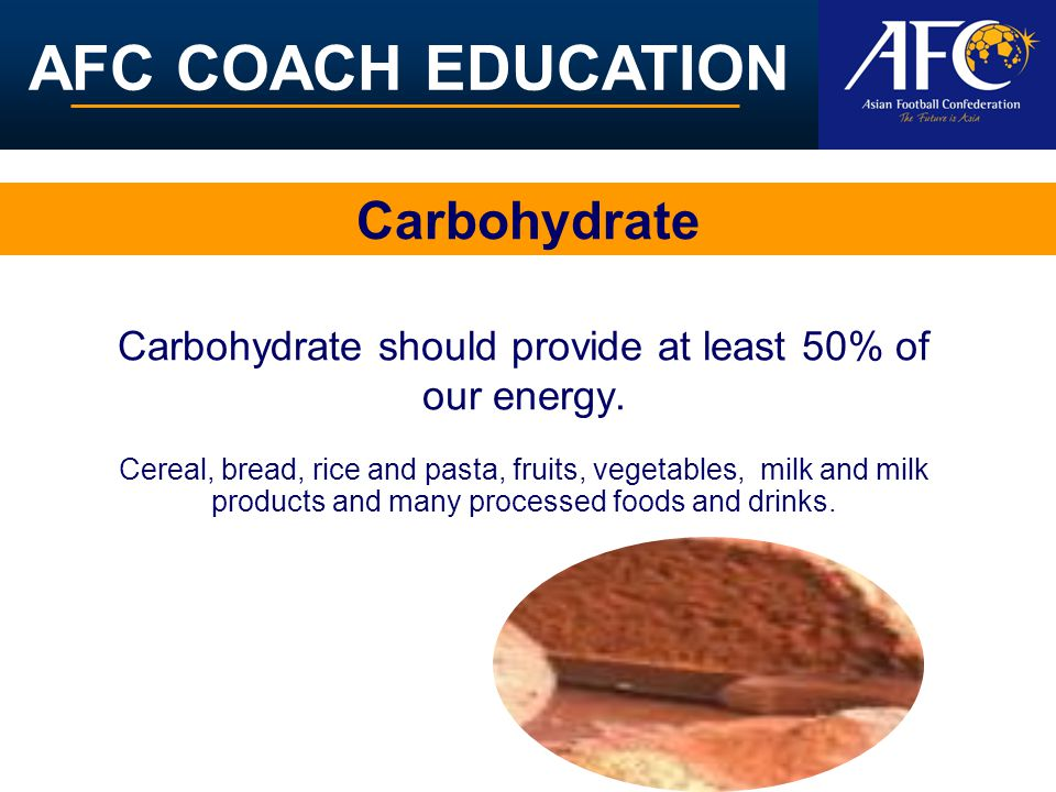 AFC COACH EDUCATION Hydration Vital Carbohydrate Intake High Carbohydrate for breakfast Snacks from high carbohydrate
