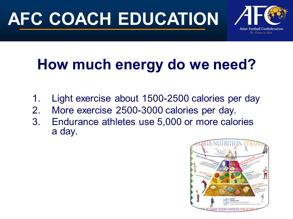 AFC COACH EDUCATION How much energy do we need? 1.Light exercise about 1500-2500 calories per day 2.More exercise 2500-3000 calories per day. 3.Endura