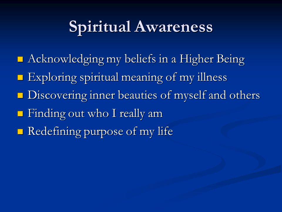 Spiritual Awareness Acknowledging my beliefs in a Higher Being Acknowledging my beliefs in a Higher Being Exploring spiritual meaning of my illness Ex