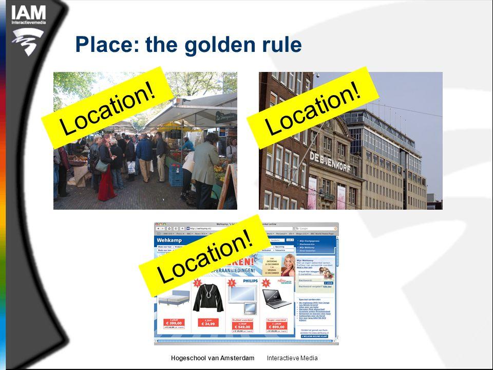 Hogeschool van Amsterdam Interactieve Media Place: the golden rule Location!