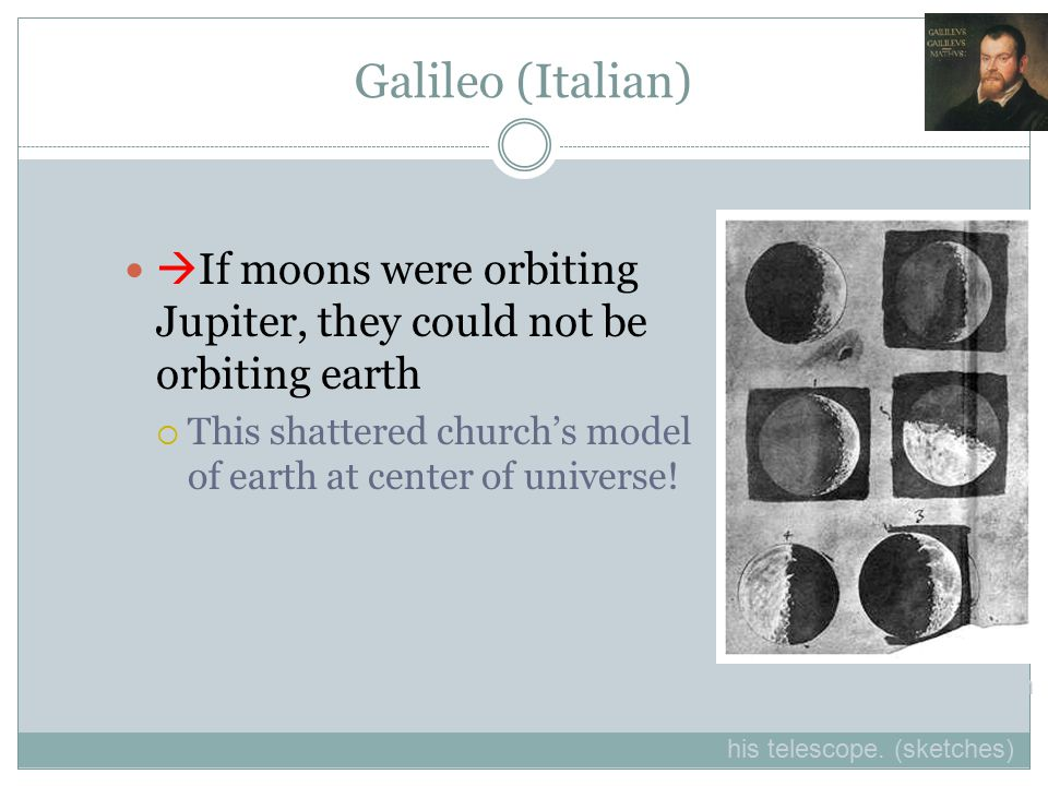 Galileo (Italian)  If moons were orbiting Jupiter, they could not be orbiting earth  This shattered church's model of earth at center of universe! (
