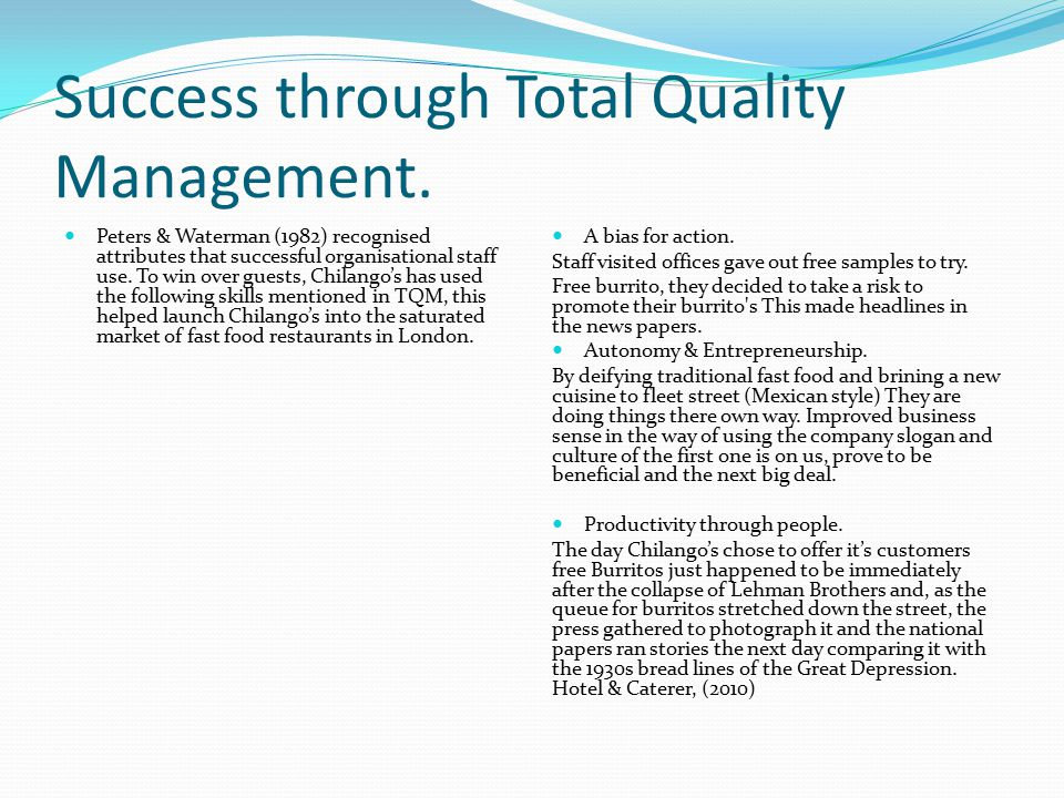 Success through Total Quality Management.