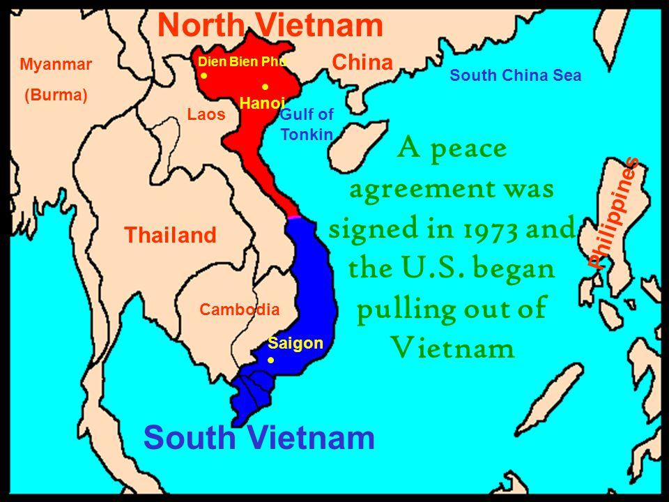 China Philippines Thailand Cambodia Laos Myanmar (Burma) South China Sea Gulf of Tonkin Saigon Hanoi Dien Bien Phu South Vietnam North Vietnam A peace
