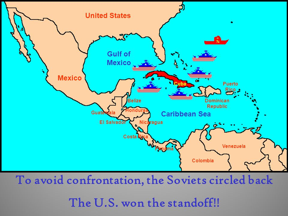 Cuba Dominican Republic Puerto Rico United States Mexico El Salvador Guatemala Belize Honduras Nicaragua Costa Rica Panama Colombia Venezuela Gulf of Mexico Caribbean Sea To avoid confrontation, the Soviets circled back The U.S.