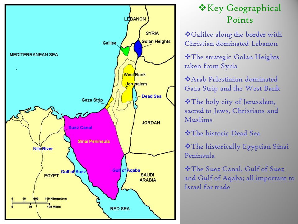  Key Geographical Points  Galilee along the border with Christian dominated Lebanon  The strategic Golan Heights taken from Syria  Arab Palestinian dominated Gaza Strip and the West Bank  The holy city of Jerusalem, sacred to Jews, Christians and Muslims  The historic Dead Sea  The historically Egyptian Sinai Peninsula  The Suez Canal, Gulf of Suez and Gulf of Aqaba; all important to Israel for trade