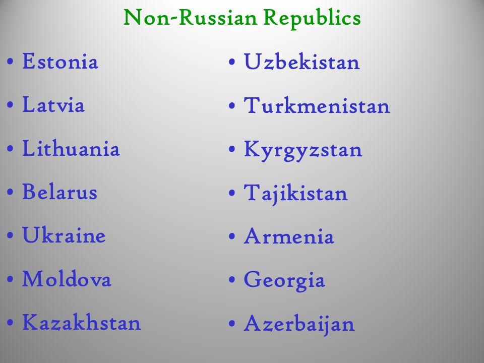Non-Russian Republics Estonia Latvia Lithuania Belarus Ukraine Moldova Kazakhstan Uzbekistan Turkmenistan Kyrgyzstan Tajikistan Armenia Georgia Azerbaijan
