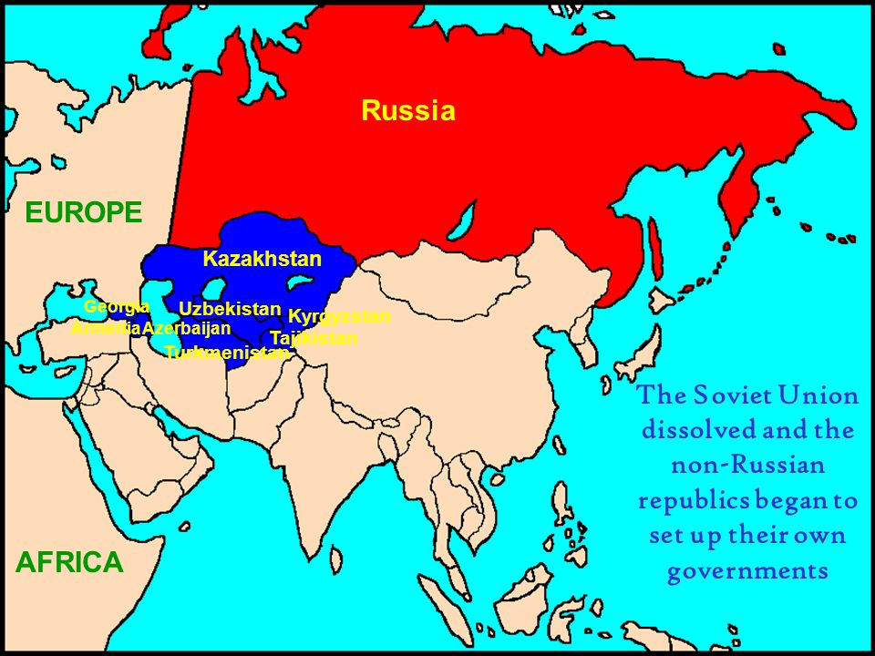 Russia EUROPE AFRICA Kazakhstan Kyrgyzstan Tajikistan Uzbekistan Turkmenistan Georgia AzerbaijanArmenia The Soviet Union dissolved and the non-Russian republics began to set up their own governments