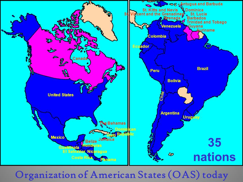 United States Mexico Guatemala Nicaragua Costa Rica Panama Colombia Venezuela Haiti Dominican Republic Ecuador Peru Bolivia Argentina Chile Brazil Uruguay El Salvador Honduras Antugua and Barbuda St.