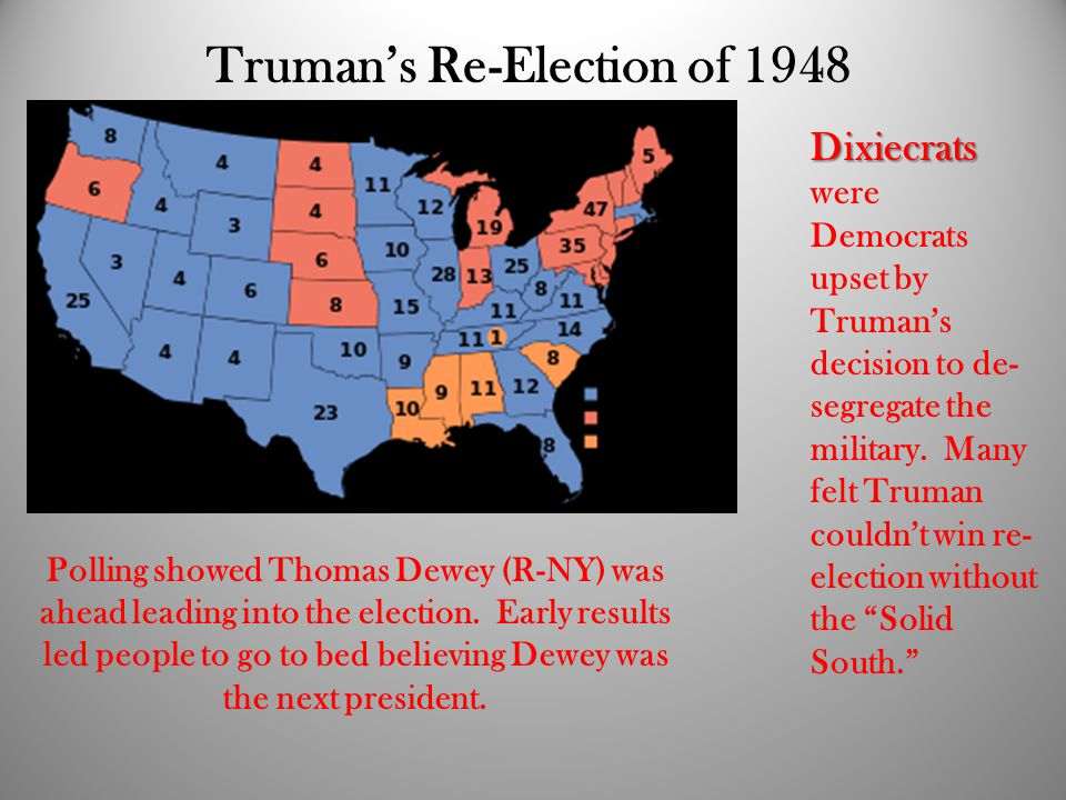 Truman's Re-Election of 1948 Polling showed Thomas Dewey (R-NY) was ahead leading into the election.