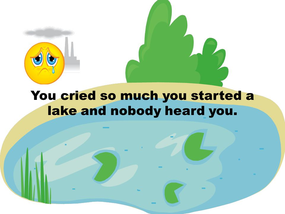 You cried so much you started a lake and nobody heard you.