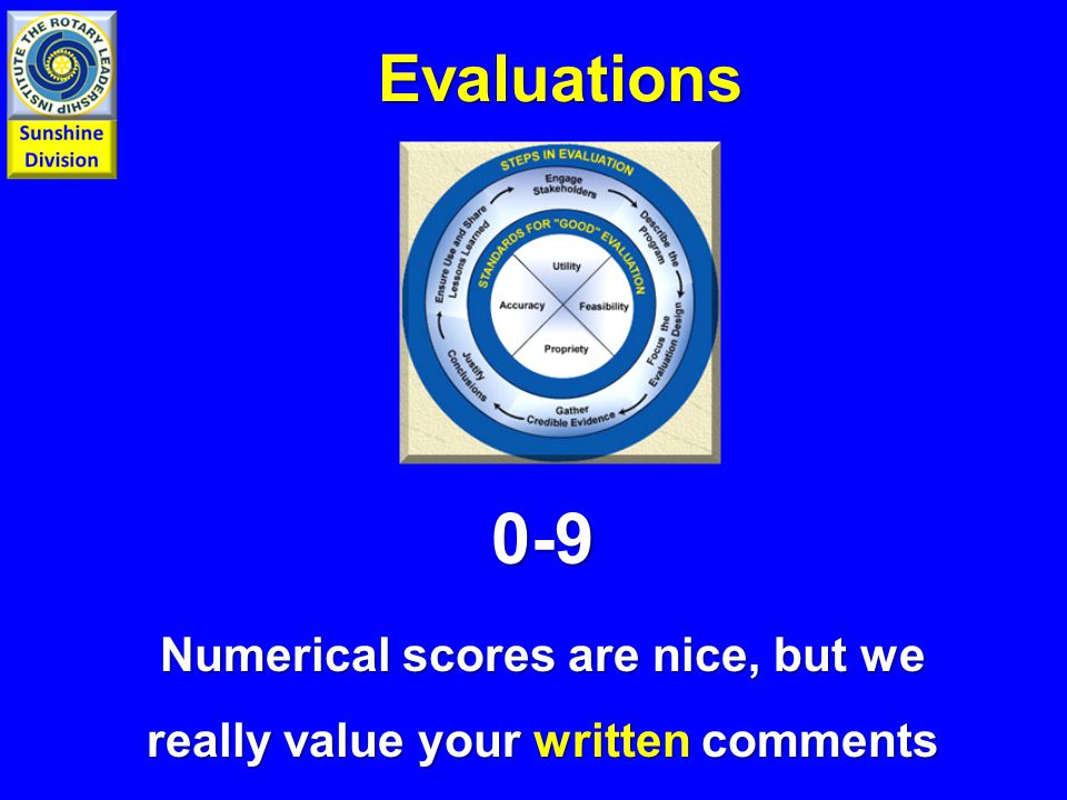 Evaluations 0-9 Numerical scores are nice, but we really value your written comments