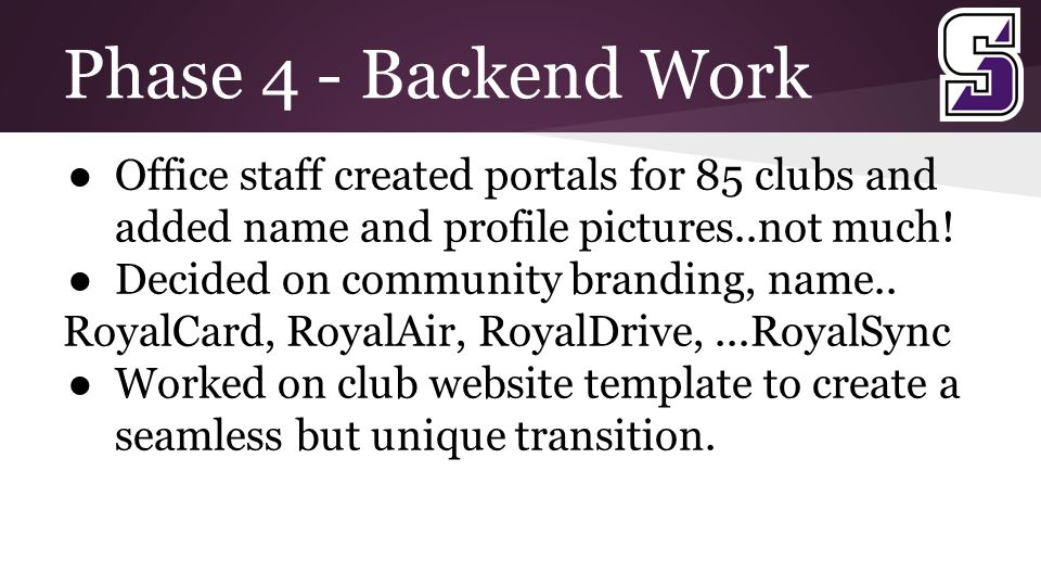 Phase 4 - Backend Work ● Office staff created portals for 85 clubs and added name and profile pictures..not much.