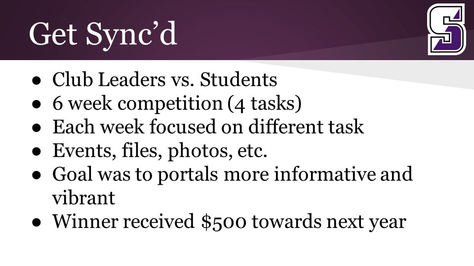 Get Sync'd ● Club Leaders vs.