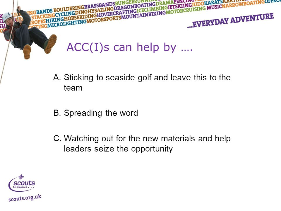ACC(I)s can help by ….