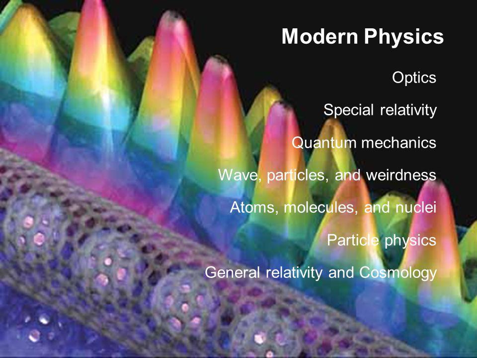 Modern Physics Optics Special relativity Quantum mechanics Wave, particles, and weirdness Atoms, molecules, and nuclei Particle physics General relati
