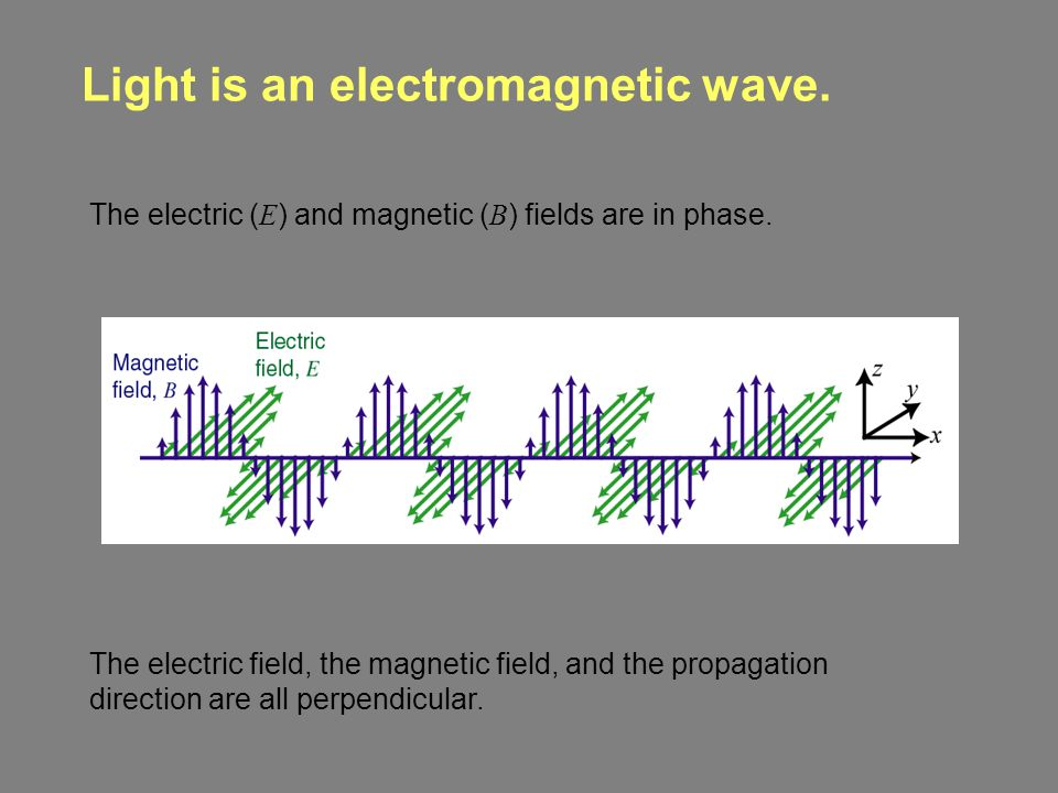 Light is an electromagnetic wave. The electric ( E ) and magnetic ( B ) fields are in phase.
