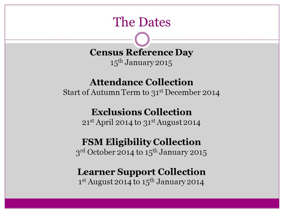 The Dates Census Reference Day 15 th January 2015 Attendance Collection Start of Autumn Term to 31 st December 2014 Exclusions Collection 21 st April 2014 to 31 st August 2014 FSM Eligibility Collection 3 rd October 2014 to 15 th January 2015 Learner Support Collection 1 st August 2014 to 15 th January 2014
