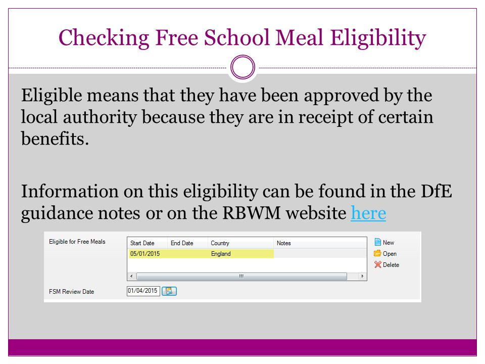 Checking Free School Meal Eligibility Eligible means that they have been approved by the local authority because they are in receipt of certain benefits.