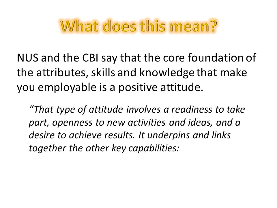 NUS and the CBI say that the core foundation of the attributes, skills and knowledge that make you employable is a positive attitude.