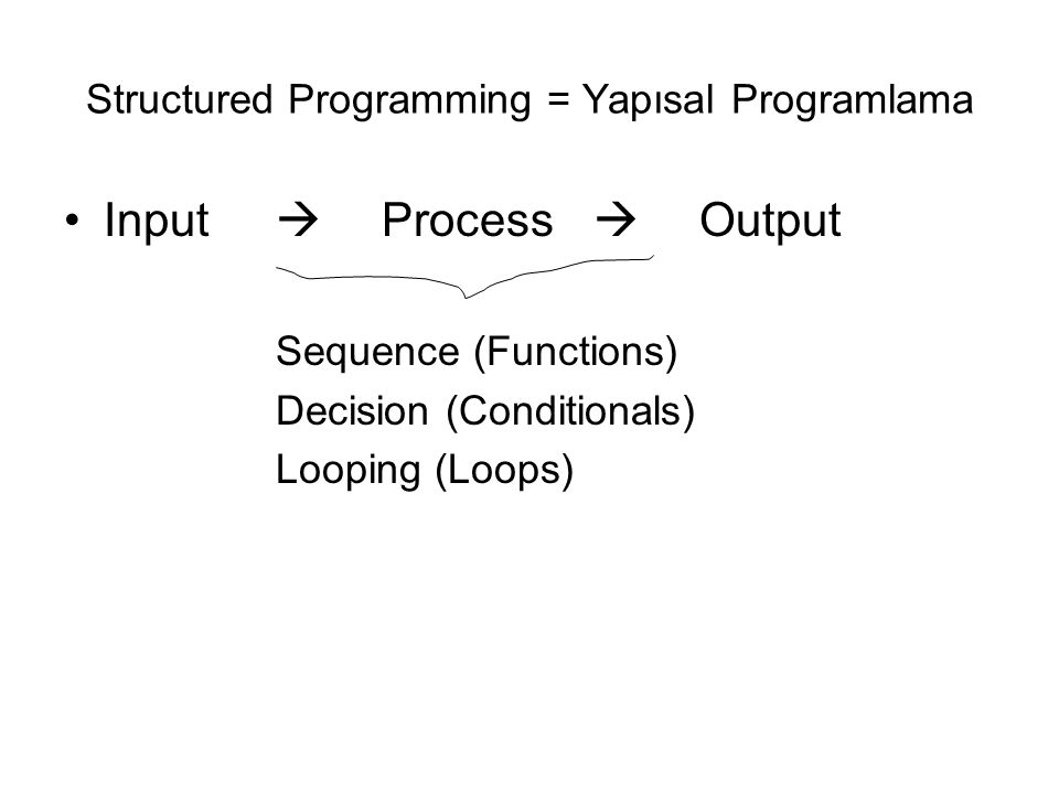 Structured Programming = Yapısal Programlama Input  Process  Output Sequence (Functions) Decision (Conditionals) Looping (Loops)