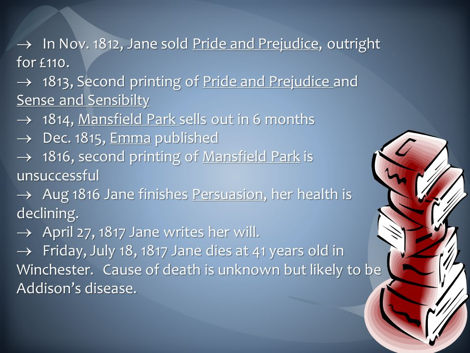  In Nov.1812, Jane sold Pride and Prejudice, outright for £110.