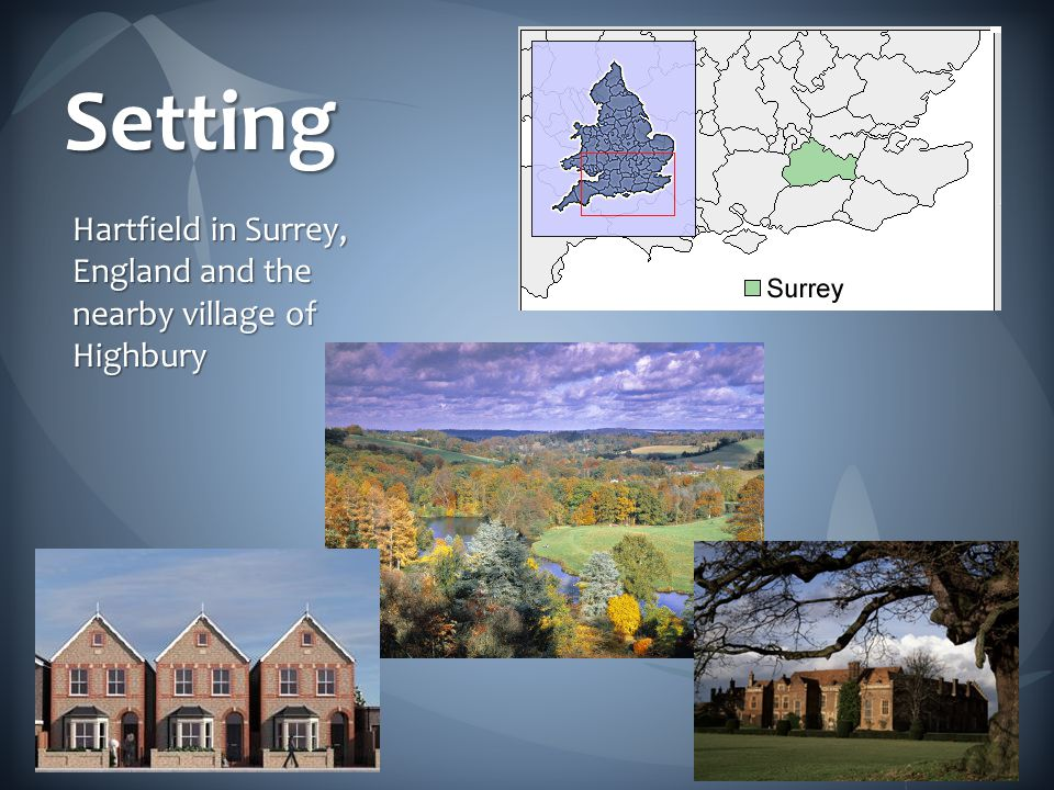 Setting Hartfield in Surrey, England and the nearby village of Highbury
