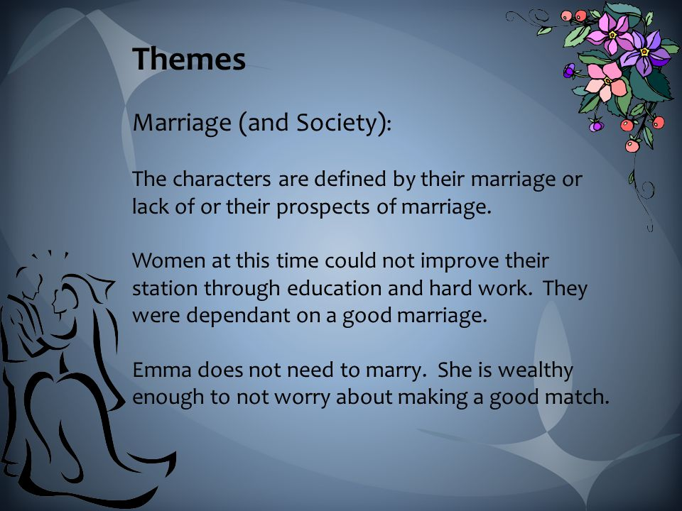 Themes Marriage (and Society) : The characters are defined by their marriage or lack of or their prospects of marriage.
