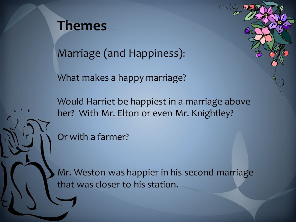 Themes Marriage (and Happiness) : What makes a happy marriage.
