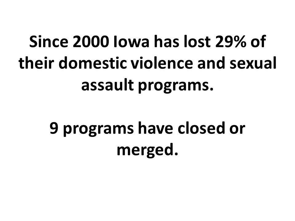 Since 2000 Iowa has lost 29% of their domestic violence and sexual assault programs.