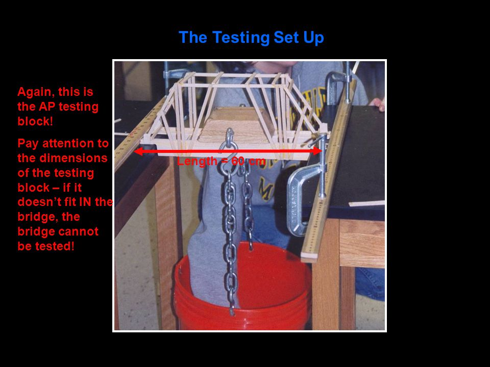 The Testing Set Up Again, this is the AP testing block! Pay attention to the dimensions of the testing block – if it doesn't fit IN the bridge, the br