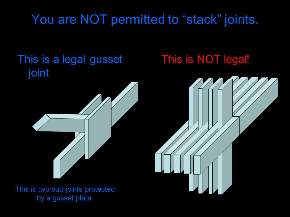 """You are NOT permitted to """"stack"""" joints. This is a legal gusset joint This is NOT legal! This is two butt-joints protected by a gusset plate."""