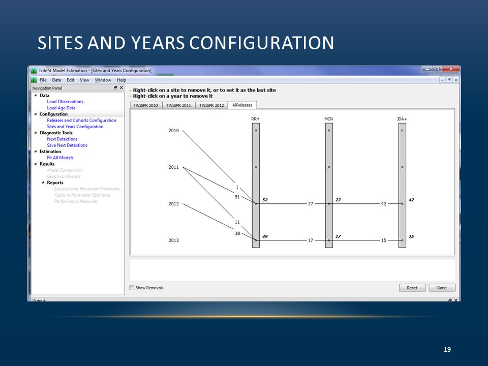 SITES AND YEARS CONFIGURATION 19