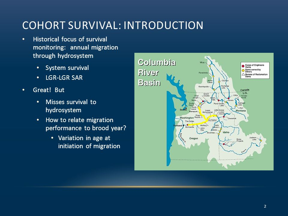 COHORT SURVIVAL: INTRODUCTION Historical focus of survival monitoring: annual migration through hydrosystem System survival LGR-LGR SAR Great! But Mis