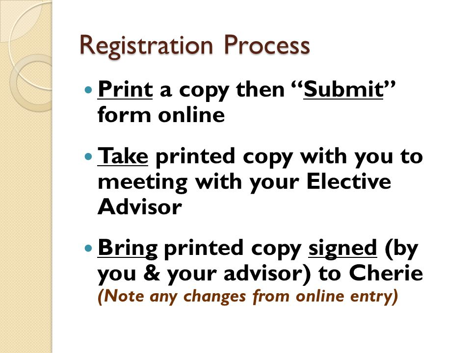 Registration Process Print a copy then Submit form online Take printed copy with you to meeting with your Elective Advisor Bring printed copy signed (by you & your advisor) to Cherie (Note any changes from online entry)