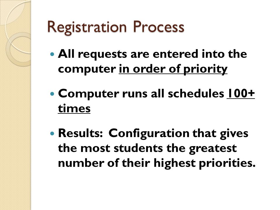 Registration Process All requests are entered into the computer in order of priority Computer runs all schedules 100+ times Results: Configuration that gives the most students the greatest number of their highest priorities.