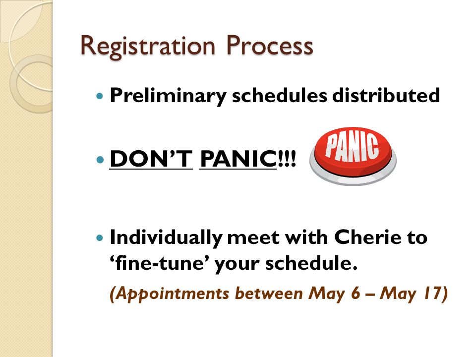 Registration Process Preliminary schedules distributed DON'T PANIC!!.