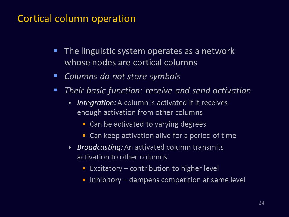 Cortical column operation  The linguistic system operates as a network whose nodes are cortical columns  Columns do not store symbols  Their basic